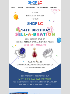 Shop LC - You're Invited to our 14th Birthday Sell-A-Bration!