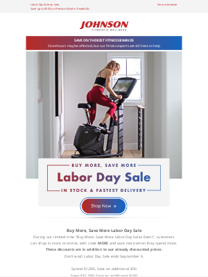 Johnson Fitness - Labor Day Sale⭐ Final Weekend To Save!