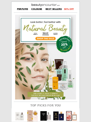 Beauty Encounter - Last Day: 💚 Stay fresh with 20% off Natural Beauty*
