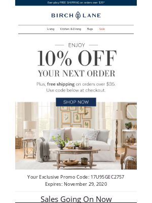 Our gift to you: 10% OFF classic furniture & decor