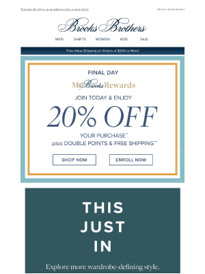 Brooks Brothers (AU) - Last Day—20% Off New Arrivals