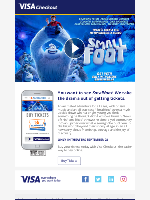 Get tickets to Smallfoot on Fandango with Visa Checkout