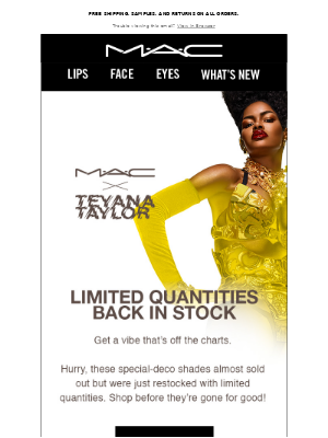 Quick, shop limited quantities from M∙A∙C x Teyana Taylor.
