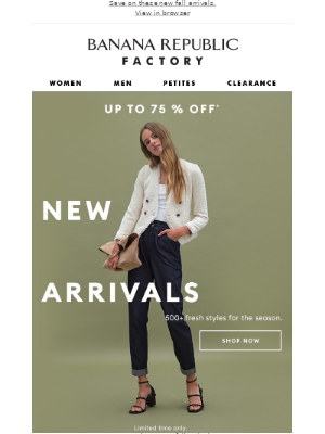Banana Republic Factory - Hurry! Up to 75% off ends soon! (INCLUDES NEW ARRIVALS)