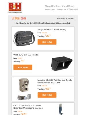 Today's Deals: Vanguard Shoulder Bag, Vello LCD Hoods, Moultrie Trail Camera Bundle, CAD USB Recording Microphone & More