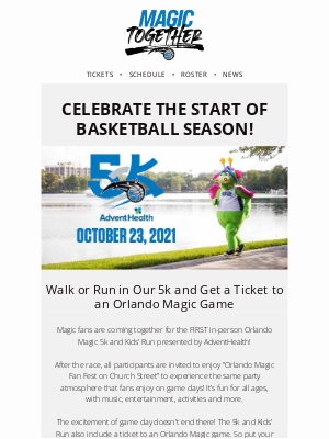 Orlando Magic - 🏃 Join Our Magic 5K & Get a Ticket to a Game