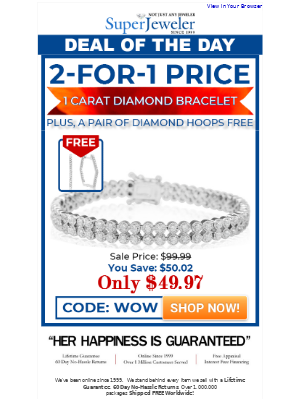 SuperJeweler - Jaw. Dropped! Only $49.97 For Bracelet + FREE Hoops