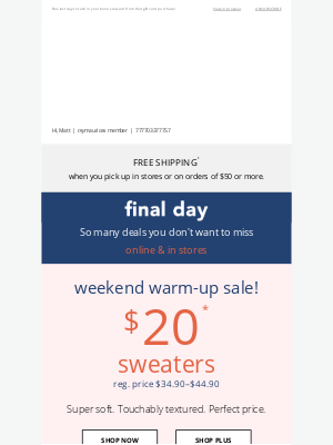 Maurices - FINAL DAY: $20 sweaters + up to 75% off 👋