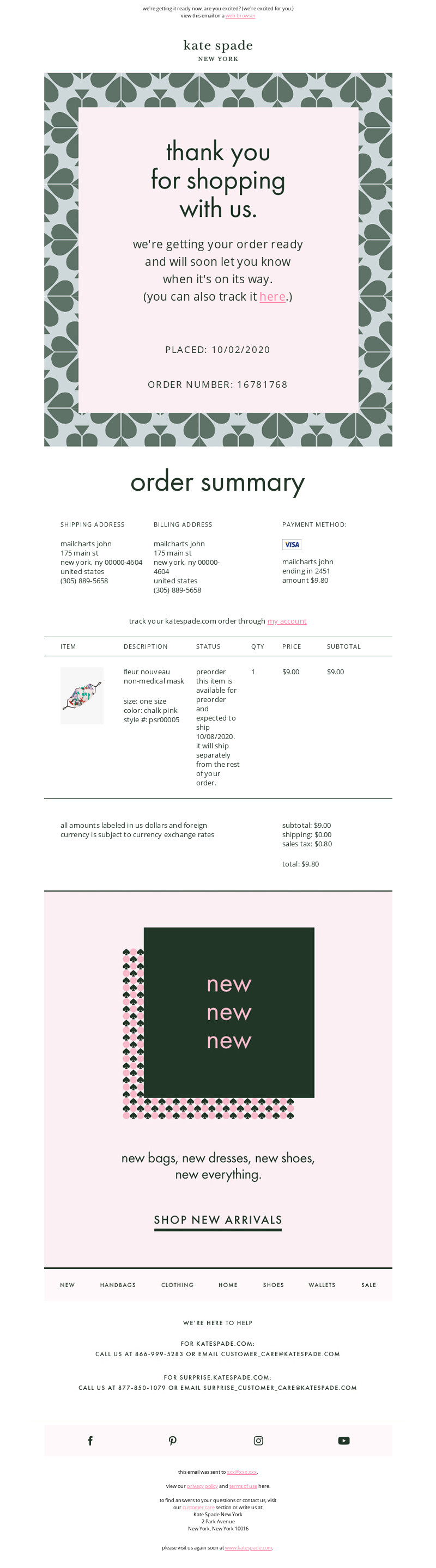 Kate Spade New York - thank you for your order #16781768
