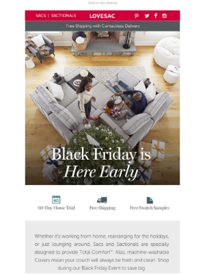 Lovesac - The Lovesac Black Friday Event Starts NOW!