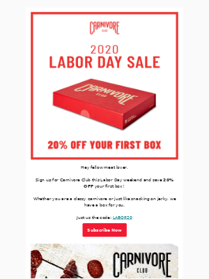Carnivore Club - Labor Day Weekend Sale starts NOW!