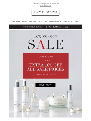 The White Company - Extra 10% off and Sale ends tonight