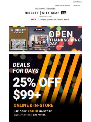 Hibbett Sports - Fill Up On These Thanksgiving Savings 🦃