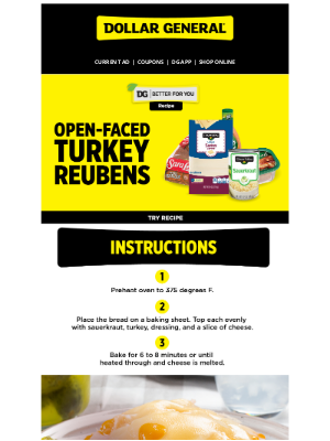 Dollar General - Better For You recipe: Open-Faced Turkey Reubens.