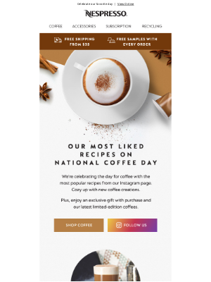 Nespresso (UK) - $10 off inside for National Coffee Day