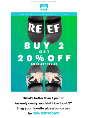 Reef - 2 FOR 20% off SELECT STYLES