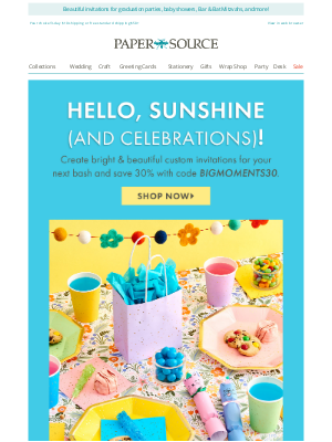 Paper Source - Last Chance! 30% off Custom Party Invites 🎉