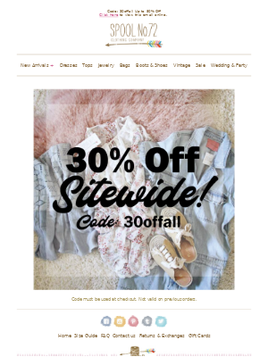 30% Off Sitewide Sale!