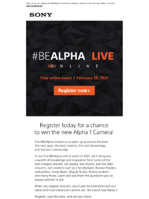 Sony - You're Invited: #BeAlpha Live + Camera Giveaway