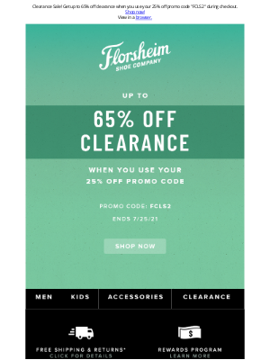 Florsheim Shoes - 65% OFF! Clearance Event Going On Now