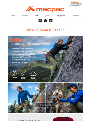 Macpac (New Zealand) - New to Mountain Sports – just in!