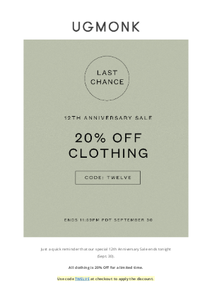 Ugmonk - Last chance for 20% Off