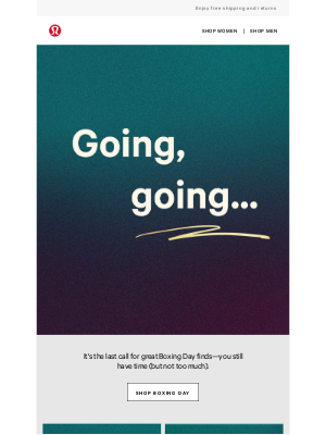 lululemon (AU) - The final (Boxing Day) countdown is on
