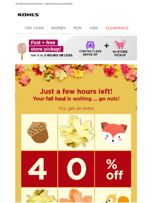 Kohl's -      Don't leaf these mystery savings behind! Did you get 40%, 30% or 20% off?