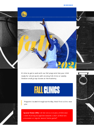 Golden State Warriors - Fall Camps Are Filling Up Quickly! Plus, New Small Group Classes