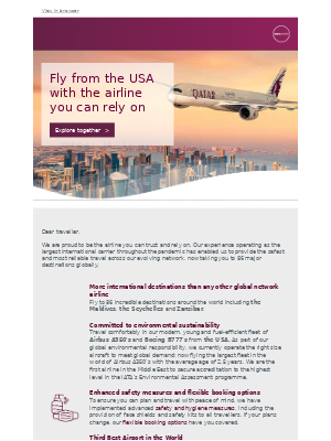 Fly from the USA with the airline you can trust