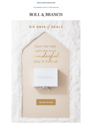 Boll & Branch - It's time to shop the most wonderful deal of all...
