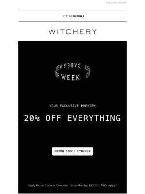 Witchery (AU) - CYBER WEEK STARTS NOW. 20% OFF EVERYTHING.