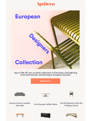 AptDeco - Don't miss our European furniture collection