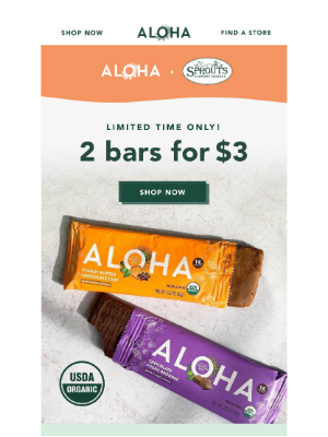 ALOHA - Hurry - Limited time Deal at Sprouts! ALOHA Bars 2/$3 through 1/26! 🤩