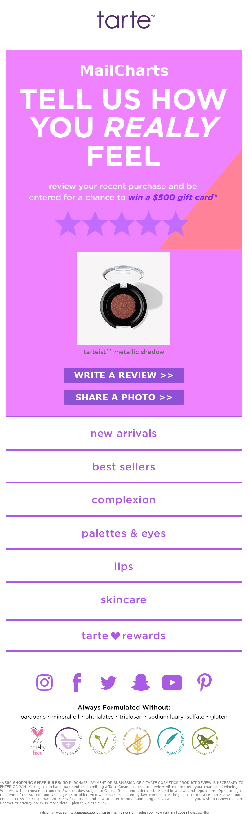 Tarte Cosmetics - MailCharts, are you loving your latest purchase?!