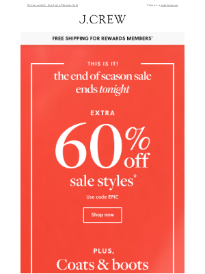 J.Crew - Last chance: extra 60% off sale styles ends at midnight