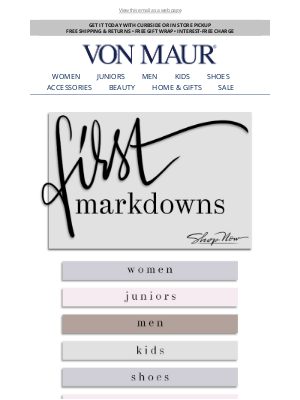 Von Maur - First Markdowns Just Added!