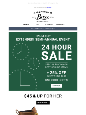 G.H. Bass & Co. - BONUS DAY! The 24 Hour Sale - Bucks, Boots + More starting at $45