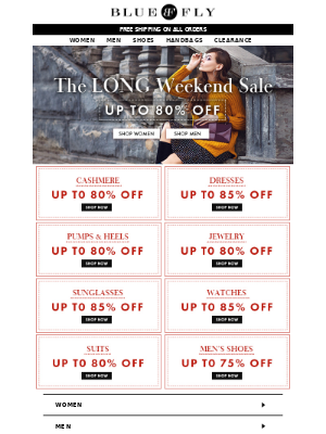 Bluefly - 80% Off Cashmere, Dresses, Pumps & more at the Long Weekend Sale