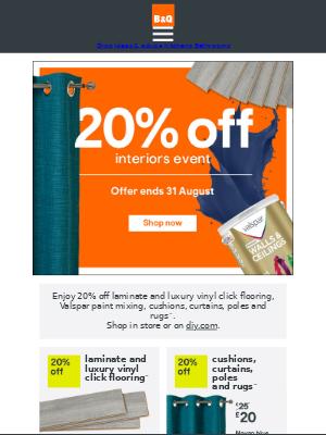 DIY at B&Q (UK) - 20% off interiors event continues