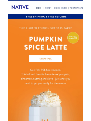 Pumpkin Spice Latte is back for a limited time only!