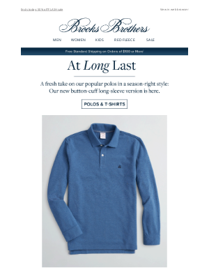 Brooks Brothers - Just in: the perfect long-sleeve polo