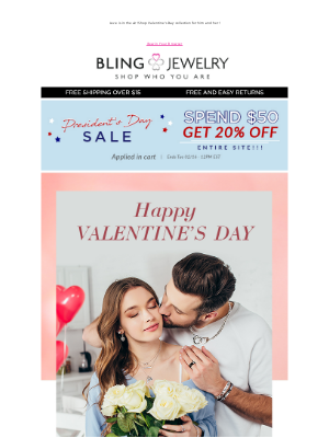 Bling Jewelry - Our Gift to You Valentine! 20% off with Purchase!