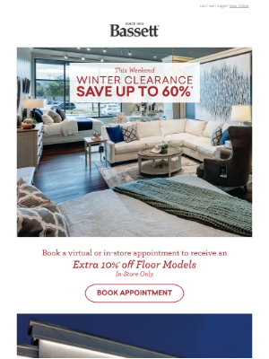 Bassett Furniture Industries - Winter Clearance ❄️ Up To 60% Off