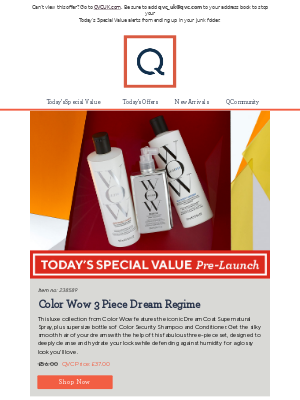 See Today's Special Value Pre-Launch: Color Wow 3 Piece Dream Regime