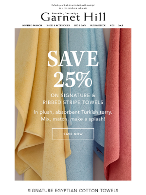 Garnet Hill - SAVE 25% on Towels: Signature & Ribbed Stripes