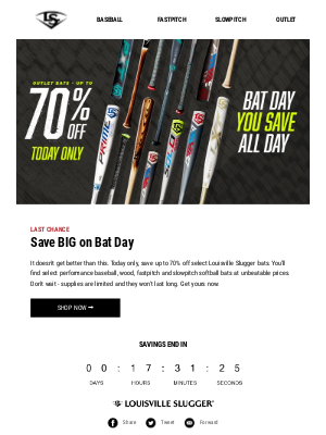 TODAY ONLY: Up to 70% off bats