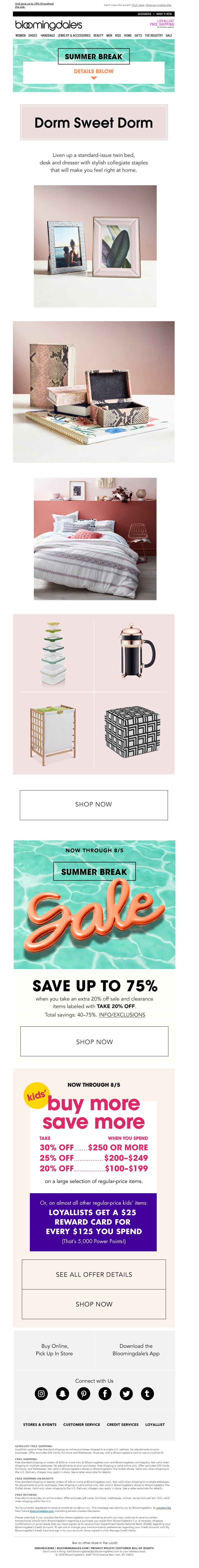 Labor Day Email example from Bloomingdale's