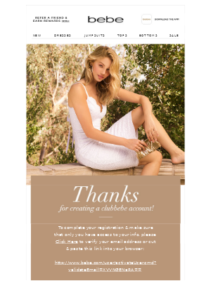 """Saying """"Thanks"""" with your confirmation email - example by Bebe"""