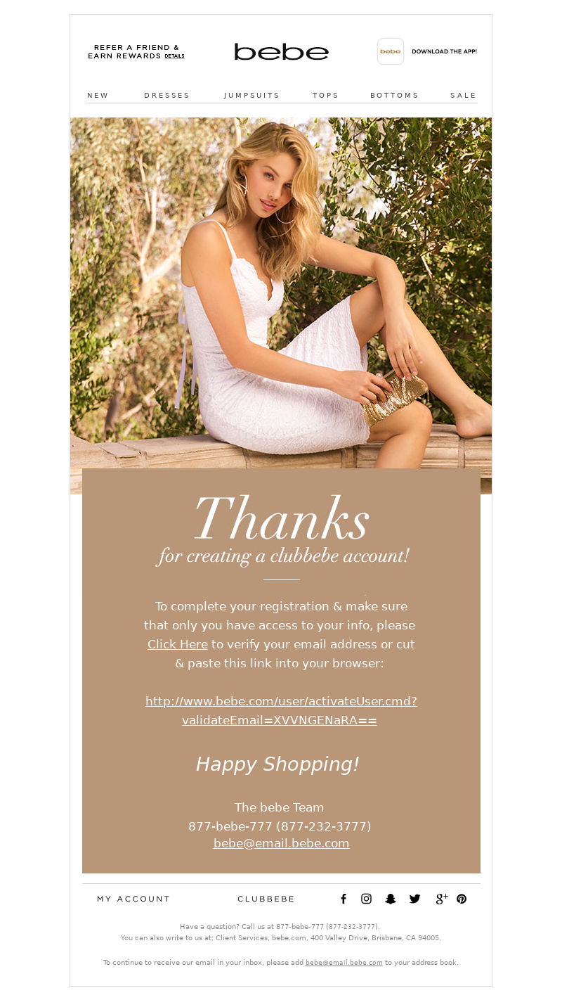 "Saying ""Thanks"" with your confirmation email - example by Bebe"